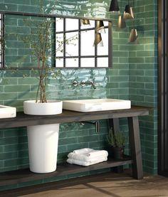 Wandfliese Cifre Opal Emerald grün Riemchen 7,5 x 30 Trend Retro Top Modern in Heimwerker, Bodenbeläge & Fliesen, Fliesen   eBay