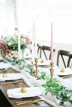Emma Lea Floral- The Styled Soiree- Maribeth Photography- Buena Vista Colorado Wedding  | Taper Candles | Pear | Smilax | Airy Greenery Garland | White | Blush | Mauve | Chiffon Runner |  | Garden Rose | Lisianthus | Floral Centerpiece | White, Mauve, Blush | Farm Table | Peony | Blueberry |