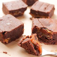 Gooey chocolate brownies, filled with sticky salted caramel.