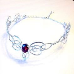 Elven Circlet BLEEDING HEART Celtic Hand Wire Wrapped Crown Tiara Bridal Wedding Hairpiece headband Choose Your Own COLORS