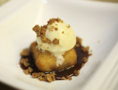 Ryan Poli's fried milk pudding with almond ice cream, almond crumble, and dulce de leche - February 8 (Photo by Michael Johnston)