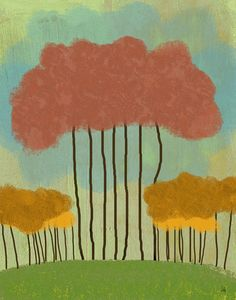 Tree Landscape 1 Painting Print on Wrapped Canvas