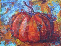 Amy Whitehouse Paintings: Fall Pumpkin and Leaves, Contemporary Still Life Paintings by Arizona Artist Amy Whitehouse