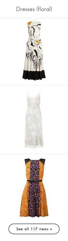 """Dresses (floral)"" by lence-59 ❤ liked on Polyvore featuring dresses, white multi, a line midi dress, neck ties, white summer dress, neck-tie, midi dress, grey, flower printed dress and floral print dress"