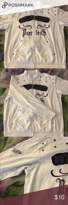 Cool looking zip up sweater. White zip up sweater with purple designs. Size 2XL, runs true to its size. In excellent condition, has been worn only few times. Somewhat light sweater, very comfortable and cozy. Sweaters Zip Up