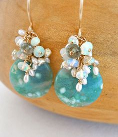 Lilly Earrings | Kristina Henning  Snowy agate, opal, freshwater pearl, aquamarine and gold