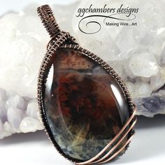 Maury Mountain Moss Agate and Antiqued Copper Woven Wire Pendant-me
