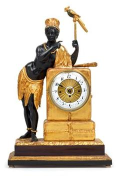 Au bon Sauvage commode clock with mechanical eyes from Vienna, 61 cm, Vienna 1810/30