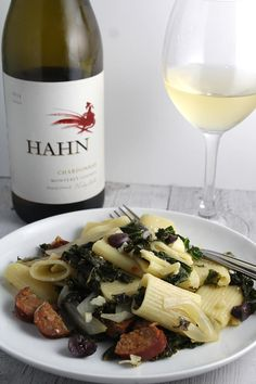 Hahn Chardonnay is a quality California white wine that paired well with our rigatoni with sausage and kale recipe.