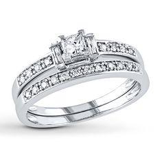 Diamond Bridal Set 1/2 ct tw Princess-cut 14K White Gold