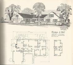 Vintage House Plans Country Estates Part 2 Dream House Plans, Modern House Plans, House Floor Plans, Mcm House, I Love House, Fancy Houses, Old Houses, Vintage House Plans, Vintage Homes