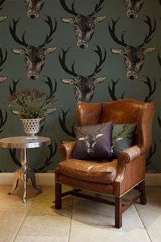 'Outside in' Stag wallpaper designed by Lisa Bliss for Graduate Collection