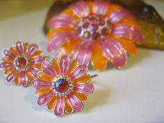 Vintage Avon Enamel Rhinestone Flower Pin & by Sisters2Vintage, $18.00