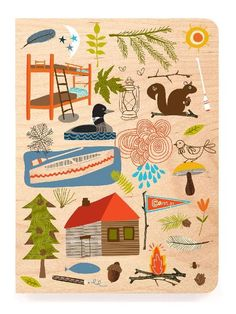 camping, woodland illustration