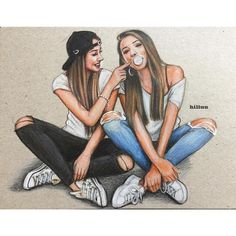 36 Ideas For Clothes Illustration Outfits Art Bff Pics, Bff Pictures, Best Friend Pictures, Friend Photos, Best Friend Sketches, Friends Sketch, Drawings Of Friends, Drawing Of Best Friends, Cute Best Friend Drawings