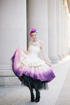Ombre Wedding Dress - Steampunk Fairytale Gown - Moon Fairy Goddess in Silk and Crystals -Custom to your size by KMKDesignsllc on Etsy https://www.etsy.com/listing/182719018/ombre-wedding-dress-steampunk-fairytale