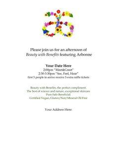 Arbonne Party Invitation Templates