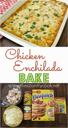 Chicken Enchilada Bake from The Country Cook. Store bought rotisserie chicken and Bisquick makes this a cinch to put together but the flavors are anything but ordinary. A mild enchilada sauce and cream of chicken soup makes this flavorful AND creamy good! Chicken Enchilada Bake, Chicken Enchiladas, Enchilada Sauce, Enchilada Casserole, Mexican Food Recipes, New Recipes, Favorite Recipes, Dinner Recipes, Easy Recipes