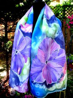 Hand Painted SILK SCARF Tropical Flowers