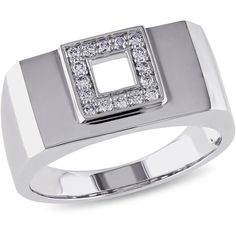 Ice 14k White Gold Diamond Ring (2,345 CAD) ❤ liked on Polyvore featuring men's fashion, men's jewelry, men's rings, jewelry, rings, women's accessories, mens watches jewelry, mens 14k gold rings, mens white gold diamond ring and mens square ring