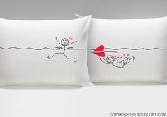 "You can't escape Love! Love always finds a way, and your true love will always find you, as shown by this pillowcase pair. They're perfect for cozy snuggles with the one you caught—or the one who caught you! BOLDLOFT®""My Heart Is After You"" His and Hers Couple Pillowcases. $24.99 via BoldLoft. #boldloft #lovepillowcases #lovegifts"