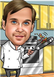 Cooking Up A Storm Caricature Cook Up A Storm Caricature From Photo