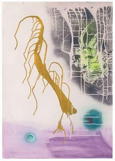 Goldhaar by Sigmar Polke. Acrylic, spray enamal and guache on paper