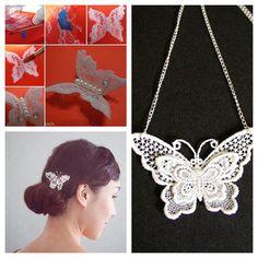 Wonderful DIY Pretty Lace Butterfly | WonderfulDIY.com