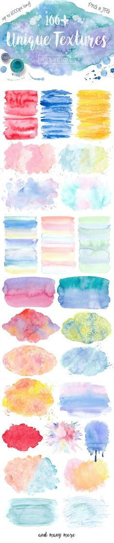 Watercolor Textures. Light & Bright by Switzergirl on @creativemarket