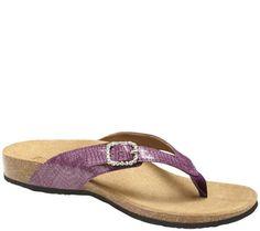 b97a696aed5 Vionic Orthotic Leather Thong Sandals -Isabeal — QVC.com