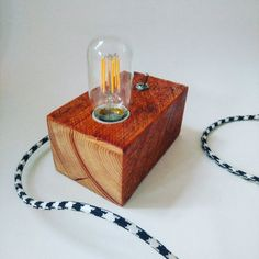 Beautiful handmade industrial vintage look lamp made from scrap wood pallet block. More info: