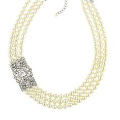 The Great Gatsby Art Deco-inspired Pearl and Czech Crystal Multi-Strand Necklace by 1928 Jewelry is an ultimate luxury piece to be cherished for years to come Multi Strand Pearl Necklace, White Pearl Necklace, Crystal Necklace, Daisy Necklace, Antique Jewelry, Vintage Jewelry, 1920s Jewelry, White Statement Necklaces, Art Deco Jewelry