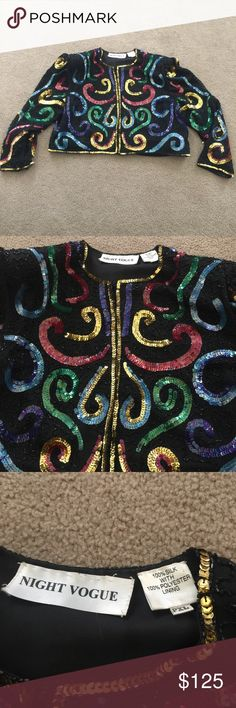 🌟Vintage Night Vogue Sequin Crop Jacket Show stopping Sequin vintage cropped jacket! Does have shoulder pads that can be removed. Can fit a size 16 Vintage Tops