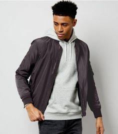 Dark Grey Pocket Sleeve High Shine Bomber Jacket | New Look