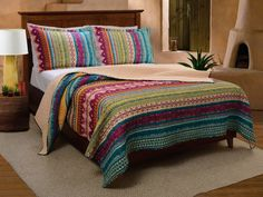 Western Tribal Geometric Chevron Stripe Pattern Print Multicolor Bedding Blue Pink Yellow Luxury Reversible 100 Cotton Quilt Set with Shams Double Full Queen Size  Includes Bed Sheet Straps *** Visit the image link for more details. #QuiltsSets