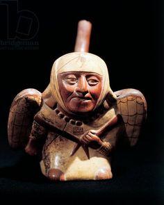 Ceramic artifact portraying mythological figure of birdman