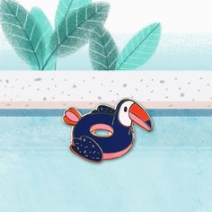 Toucan Floatie Pool Party Hard Enamel Pin by LOVEisSOUP on Etsy https://www.etsy.com/ca/listing/547395085/toucan-floatie-pool-party-hard-enamel
