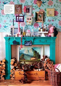 Fireplace and floral wallpaper living room magazine feature