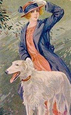 Borzoi and Lady - Italian, 1921.