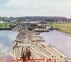 Rafts on the Peter the Great Canal. City of Shlisselburg, Russian Empire; 1909 Sergei Mikhailovich Prokudin-Gorskii Collection (Library of Congress). #