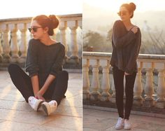 Brandy Melville Sweater, Mango Pants, Converse
