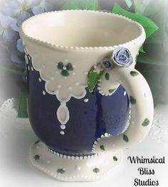 Whimsical Bliss Studios - Cobalt Lace Mug