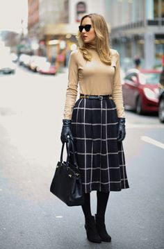 high waist checkered midi skirt with nude top