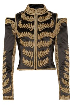 Embroidered silk-satin cropped jacket by Alexander McQueen