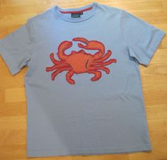 Boden~Boys~Size 11 12~Blue Orange Red Crab Applique~Short Sleeve Tee Shirt #MiniBoden #Everyday