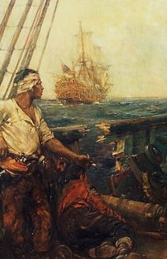 """""""Best make the starboard guns ready Master Mate. She'll be making another pass in a moment. Pirate Art, Pirate Life, Le Joker Batman, Pirate History, Golden Age Of Piracy, Ship Paintings, Black Sails, Nautical Art, Sea Art"""