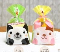 100 stück niedlichen panda kaninchen cello cookie tasche, klar flach cellophan offene tasche, kunststoff bäckerei geschenk bonbontüte