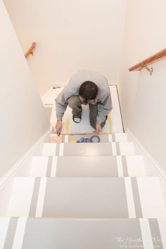 INCREDIBLE stair makeover with PAINT! SO much cheaper than stain or new stairs! If you can hold a paintbrush, you can easily learn how to paint stairs! diy How to paint stairs. A DIY tutorial. Painted Staircases, Painted Stairs, Spiral Staircases, Beautiful Stairs, Staircase Makeover, Stair Redo, Staircase Remodel, Basement Stairs, Basement Flooring