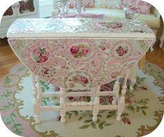 Fabulous Gateleg Table PInk Roses Galore-mosaic gateleg table, gate leg table, pink, shabby chic table, pink roses, all white decor,