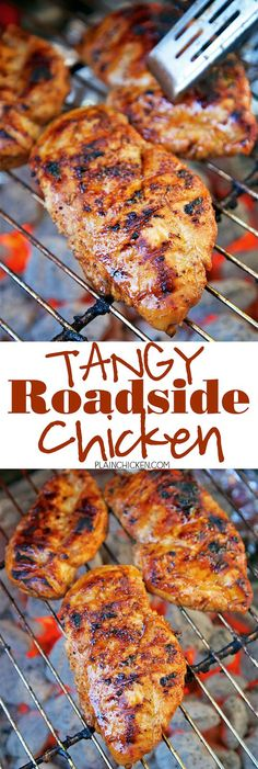 Tangy Roadside Chicken - chicken marinated in olive oil, cider vinegar, orange juice, Worcestershire sauce, chili powder, garlic powder, sugar and Montreal Chicken seasoning and grilled. We let the chicken marinate in the fridge overnight - OMG! SO good!!  The chicken was so tender and juicy and full of TONS of great flavor! Can't wait to make this again!!